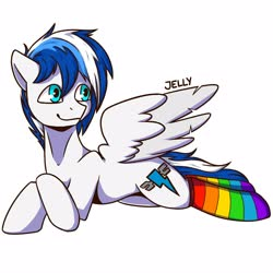 Size: 4000x4000 | Tagged: safe, artist:jellyys, oc, oc only, pegasus, pony, clothes, male, rainbow, rainbow socks, signature, simple background, smiling, socks, solo, spread wings, stallion, striped socks, white background, wings