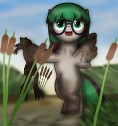 Size: 2000x2133 | Tagged: safe, artist:99999999000, oc, oc:li anna, frog, pegasus, pony, dirty, female, filly, pond, solo, water, young