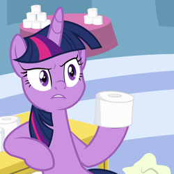 Size: 2500x2500 | Tagged: safe, artist:pizzamovies, twilight sparkle, alicorn, pony, coronavirus, covid-19, female, hoof hold, looking at someone, mare, meme, show accurate, solo, table, this will not end well, toilet paper