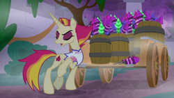 Size: 1920x1080 | Tagged: safe, screencap, fire flare, the summer sun setback, spoiler:s09e17, barrel, bush, canterlot, cart, clothes, eyes closed, eyeshadow, female, fireworks, fog, implied rarity, makeup, night, open mouth, raised hoof, solo, unamused, vest, wagon
