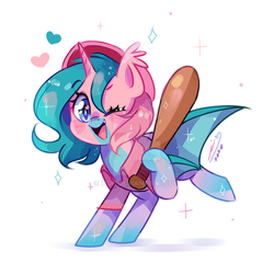 Size: 600x600 | Tagged: safe, artist:ipun, oc, alicorn, bat pony, bat pony alicorn, pony, baseball bat, bat wings, clothes, female, horn, mare, one eye closed, shirt, solo, wings, wink