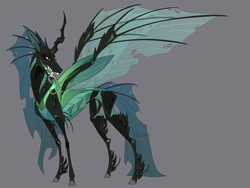 Size: 1280x960 | Tagged: safe, artist:dementra369, queen chrysalis, changeling, changeling queen, fangs, female, forked tongue, headcanon, redesign, solo