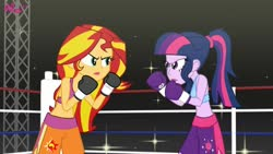 Size: 1280x720 | Tagged: safe, artist:bbbl-alam, sci-twi, sunset shimmer, twilight sparkle, equestria girls, boxing, boxing gloves, boxing ring, clothes, commission, fighting stance, shorts, sports, sports bra, sports shorts