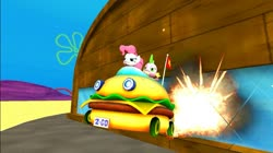 Size: 1024x575   Tagged: safe, artist:undeadponysoldier, pinkie pie, spike, earth pony, pony, series:spikebob scalepants, 3d, car, cool guys don't look at explosions, crossover, duo, explosion, female, flag, gmod, krusty krab, license plate, mare, movie quote in the comments, parody, patty wagon, spongebob squarepants, the spongebob squarepants movie