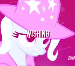 Size: 600x525 | Tagged: artist needed, source needed, safe, trixie, pony, unicorn, magic duel, aesthetics, cape, clothes, female, hat, hue, implied starlight glimmer, looking at someone, rose-tinted overlay, solo, stars, trixie's cape, trixie's hat, vaporwave, wish