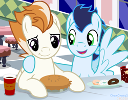 Size: 2545x2000 | Tagged: safe, artist:chainchomp2, fire streak, soarin', pegasus, pony, cafe, chocolate, coffee, donut, donut shop, duo, duo male, food, high res, hot chocolate, hug, male, pi day, pie, show accurate, stallion, that pony sure does love pies, tim hortons, vector, wonderbolts