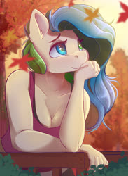 Size: 3300x4500 | Tagged: safe, artist:ardail, oc, oc only, anthro, anthro oc, autumn, breasts, cleavage, clothes, female, fence, heterochromia, high res, leaning, leaning forward, mare, smiling, solo, tanktop, tree