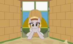 Size: 3789x2284 | Tagged: safe, artist:badumsquish, derpibooru exclusive, oc, oc only, earth pony, living hieroglyph, monster pony, original species, pony, bedroom eyes, bricks, door, dreamworks face, ear piercing, earring, egyptian, egyptian pony, eyeshadow, female, headband, hieroglyphics, jewelry, looking at you, makeup, mare, painting, part of a set, piercing, pyramid, raised eyebrow, sand, show accurate, smiling, smirk, solo, trap (device), wall