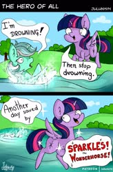 Size: 1600x2434 | Tagged: safe, artist:julunis14, lyra heartstrings, twilight sparkle, alicorn, pony, unicorn, sparkles! the wonder horse!, comic, dark comedy, dialogue, drowning, female, mare, twibitch sparkle, twilight sparkle (alicorn), water