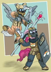 Size: 1920x2716 | Tagged: safe, artist:lizardwithhat, bifröst, silverspeed, pegasus, pony, compound bow, female, friendship student, helmet, magic arrow, mare, mask, riot gear, riot shield, simple background, staff, tactical gear, tactical vest