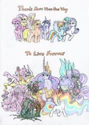 Size: 1024x1439 | Tagged: safe, artist:grimmyweirdy, applejack, fluttershy, nightmare rarity, pinkie pie, rainbow dash, rarity, spike, twilight sparkle, alicorn, draconequus, dragon, goo, goo pony, original species, pony, unicorn, the last problem, ascendant applejack, ascension, draconequified, flutterequus, forest spirit, fusion, immortal, immortality, immortality is awesome, mane seven, mane six, monster mare, older, older spike, pantheon, pinkie slime, princess twilight 2.0, species swap, spikezilla, super rainbow dash, traditional art, transformed, twilight sparkle (alicorn)