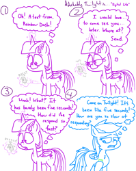 Size: 4779x6013 | Tagged: safe, artist:adorkabletwilightandfriends, rainbow dash, twilight sparkle, alicorn, pegasus, pony, comic:adorkable twilight and friends, adorkable, adorkable twilight, cellphone, comic, cute, dork, fast, friendship, happy, humor, missing cutie mark, phone, shrunken pupils, slice of life, smartphone, surprised, texting, twilight sparkle (alicorn)