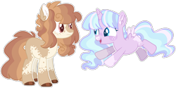 Size: 2484x1245 | Tagged: safe, artist:luqella, oc, oc:belle velour, oc:lucky charms, alicorn, pony, female, filly, magical lesbian spawn, mare, offspring, parent:princess celestia, parent:twilight sparkle, parents:twilestia, simple background, transparent background