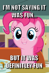 Size: 565x832 | Tagged: safe, edit, edited screencap, screencap, pinkie pie, the saddle row review, ancient aliens, caption, cropped, giorgio a. tsoukalos, image macro, meme, misspelling, solo, text