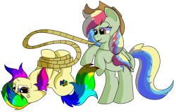 Size: 1280x818 | Tagged: safe, artist:rainbowtashie, applejack, rainbow dash, oc, oc:rainbow tashie, oc:zap-apple jam, earth pony, pegasus, pony, annoyed, commissioner:bigonionbean, cowboy hat, cute, cutie mark, female, freckles, fusion, fusion:zap-apple jam, hat, irritated, lasso, mare, nintendo 64, rope, simple background, smiling, smirk, stetson, tied up, transparent background, vein bulge, writer:bigonionbean