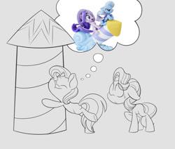 Size: 1280x1086   Tagged: safe, artist:ryuyo, starlight glimmer, trixie, pony, unicorn, missing cutie mark, rocket, sketch, sweat, toy, toy interpretation, trixie's rocket