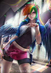 Size: 848x1200 | Tagged: safe, artist:axsens, rainbow dash, human, equestria girls, chromatic aberration, clothes, compression shorts, eared humanization, eyeshadow, fit, hand on hip, humanized, jacket, looking at you, makeup, rainbow, seductive, seductive pose, sexy, shirt, shirt lift, shorts, skirt, smiling, solo, stupid sexy rainbow dash, sultry pose, sunny day, undershirt, watermark, winged humanization, wings, wristband