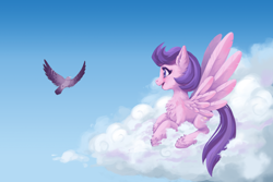 Size: 4950x3300   Tagged: safe, artist:taytinabelle, clear skies, bird, pegasus, pony, beautiful, chest fluff, cloud, cute, digital art, ear fluff, feather, female, fluffy, happy, high res, leg fluff, mare, open mouth, profile, side view, smiling, solo, spread wings, unshorn fetlocks, wings