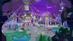 Size: 1920x1080 | Tagged: safe, screencap, apple fritter, braeburn, cherry jubilee, florina tart, jade spade, princess celestia, princess luna, silver script, star bright, twilight sparkle, alicorn, earth pony, pegasus, pony, unicorn, the summer sun setback, spoiler:s09e17, apple family member, background pony, canterlot, cart, fan, female, male, mare, market, ponies standing next to each other, stallion, twilight sparkle (alicorn), unnamed pony, upscaled