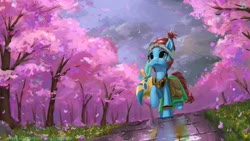 Size: 2560x1440 | Tagged: safe, artist:tinybenz, meadowbrook, pony, bag, cherry blossoms, cloud, cute, female, flower, flower blossom, healer's mask, mare, mask, saddle bag, scenery, sky, solo, tree