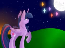 Size: 1280x960 | Tagged: safe, artist:misscandyt, twilight sparkle, alicorn, pony, evening, female, grass, immortality blues, looking up, mare, moon, night, sad, signature, sky, solo, stars, twilight sparkle (alicorn)