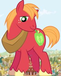Size: 1280x1600 | Tagged: safe, big macintosh, earth pony, pony, giant pony, house, macro, male, mega giant, ponyville, ponyville town hall, really big mac, stallion, town hall