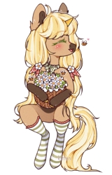 Size: 831x1300 | Tagged: safe, artist:kitten-in-the-jar, oc, oc only, oc:honey cake, pony, unicorn, basket, clothes, eyes closed, female, flower, mare, simple background, socks, solo, striped socks, transparent background, white outline