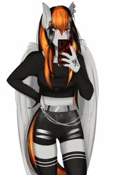 Size: 2802x4096 | Tagged: safe, artist:cannoncar, oc, oc only, oc:cannon car, anthro, pegasus, anthro oc, cellphone, clothes, ear piercing, earring, female, jewelry, phone, piercing, selfie, simple background, socks, solo, thigh highs, white background, wings