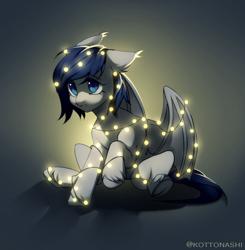 Size: 1454x1484   Tagged: safe, artist:kottonashi, oc, oc only, oc:athena dawn, bat pony, pony, christmas, christmas lights, female, filly, holiday, solo