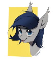 Size: 1332x1471   Tagged: safe, artist:kottonashi, oc, oc only, oc:athena dawn, bat pony, pony, bust, female, simple background, solo, tongue out, white background