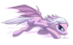 Size: 1500x924 | Tagged: safe, artist:stoic5, oc, oc only, oc:papilone, bat pony, /mlp/, bat pony oc, bat wings, female, floppy ears, lidded eyes, mare, requested art, running, simple background, solo, white background, wings