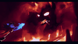 Size: 1920x1080 | Tagged: safe, artist:isagat7, oc, oc only, oc:bizarre song, pony, cape, clothes, colored, epic, fire, giant pony, lava, lava pony, macro, messy mane, this will end in pain, volcano, wallpaper