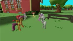 Size: 1024x575 | Tagged: safe, artist:undeadponysoldier, apple bloom, babs seed, diamond tiara, scootaloo, silver spoon, spike, sweetie belle, dragon, earth pony, pegasus, pony, unicorn, 3d, bow, cute, cutie mark crusaders, female, filly, gmod, male, picnic table, ponyville schoolhouse, shipper on deck, shipping, spiketiara, straight, table, tree