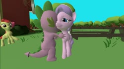 Size: 1024x575 | Tagged: safe, artist:undeadponysoldier, apple bloom, diamond tiara, spike, dragon, earth pony, pony, 3d, cute, female, gmod, happy, hug, male, picnic table, ponyville schoolhouse, shipper on deck, shipping, spiketiara, straight, table