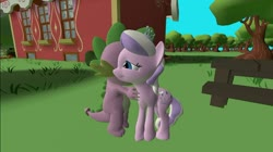 Size: 1024x575 | Tagged: safe, alternate version, artist:undeadponysoldier, diamond tiara, spike, dragon, earth pony, pony, cute, female, filly, happy, jewelry, male, picnic table, ponyville schoolhouse, shipping, spiketiara, straight, table, tiara, tree