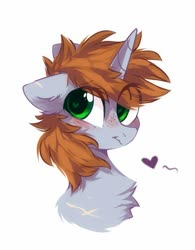 Size: 705x902 | Tagged: safe, artist:mirtash, oc, oc only, oc:littlepip, pony, unicorn, fallout equestria, blushing, bust, chest fluff, ear fluff, eye clipping through hair, fanfic, fanfic art, female, fluffy, freckles, heart, heart eyes, horn, mare, portrait, solo, wingding eyes
