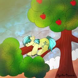 Size: 2500x2500 | Tagged: safe, artist:spider_bunnie, sandbar, earth pony, pony, apple, apple tree, beach, female, filly, food, male, seashore, signature, sleeping, solo, stallion, tree, tree branch, wave