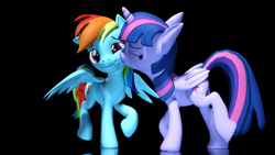 Size: 3840x2160 | Tagged: safe, artist:psfmer, rainbow dash, twilight sparkle, alicorn, pegasus, pony, 3d, 4k, black background, eyes closed, female, flustered, kiss on the cheek, kissing, lesbian, reflection, shipping, simple background, source filmmaker, twidash, twilight sparkle (alicorn), wings