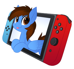 Size: 3500x3251 | Tagged: safe, artist:scarlet-spectrum, oc, oc only, oc:pegasusgamer, pegasus, pony, bust, happy, looking at you, nintendo, nintendo switch, simple background, solo, tongue out, transparent background, video game, wings