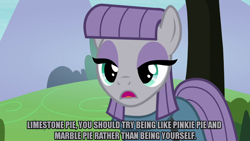Size: 1280x720 | Tagged: safe, edit, edited screencap, editor:jaredking203, screencap, maud pie, earth pony, pony, the maud couple, caption, eyeshadow, female, image macro, makeup, meme, text