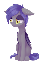 Size: 1024x1513 | Tagged: safe, artist:dusthiel, oc, oc only, oc:aury, bat pony, pony, bat pony oc, bat wings, female, floppy ears, mare, sad, simple background, sitting, slit eyes, slit pupils, solo, transparent background, wings