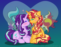 Size: 1225x941 | Tagged: safe, artist:itsnatcherx, artist:taybarbases, starlight glimmer, sunset shimmer, pony, unicorn, alternate hairstyle, base used, blushing, boop, chest fluff, cute, eyes closed, female, glimmerbetes, heart, lesbian, mare, noseboop, shimmerbetes, shimmerglimmer, shipping, sitting