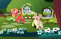 Size: 2000x1280 | Tagged: safe, anonymous artist, big macintosh, fluttershy, earth pony, pegasus, pony, series:fm holidays, ass up, blushing, chair, cookie, cravat, cup, eyes on the prize, female, flower, fluttermac, fluttershy's cottage, food, garden, head turn, holiday, lineless, male, mare, misleading thumbnail, motion lines, no pupils, not what it looks like, saint patrick's day, shamrock, shipping, smear, stallion, straight, table, teacup, teapot