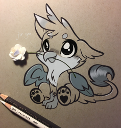 Size: 2944x3103 | Tagged: safe, artist:emberslament, gallus, griffon, baby, baby gallus, blushing, chickub, colored pencil drawing, colored pencils, cute, daaaaaaaaaaaw, flower, gallabetes, looking up, monochrome, mouth hold, paw pads, paws, photo, traditional art, underpaw, weapons-grade cute
