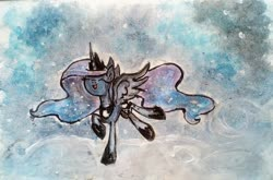 Size: 1965x1299   Tagged: safe, artist:mysteriousshine, princess luna, alicorn, pony, abstract background, ethereal mane, eyes closed, female, galaxy mane, hoof shoes, mare, peytral, raised hoof, smiling, solo, traditional art