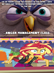 Size: 1024x1374 | Tagged: safe, edit, edited screencap, screencap, sunset shimmer, equestria girls, equestria girls series, rollercoaster of friendship, anger management, angry, angry birds, judge peckinpah, meme, rage, rageset shimmer, shrunken pupils, the angry birds movie, wrong aspect ratio