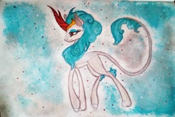 Size: 1985x1330 | Tagged: safe, artist:mysteriousshine, rain shine, kirin, abstract background, female, leonine tail, solo, traditional art