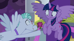 Size: 1920x1080 | Tagged: safe, screencap, feather flatterfly, twilight sparkle, alicorn, pegasus, pony, the summer sun setback, spoiler:s09e17, canterlot, duo, female, flying, glasses, looking at each other, male, necktie, night, open mouth, scared, spread wings, twilight sparkle (alicorn), wide eyes, wings