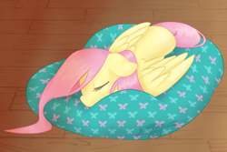 Size: 1054x704   Tagged: safe, artist:imaplatypus, fluttershy, pegasus, pony, bean bag chair, cute, eyes closed, female, floppy ears, indoors, mare, prone, shyabetes, sleeping, solo, stray strand, three quarter view, wings
