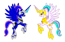 Size: 1144x740 | Tagged: safe, artist:larsurus, editor:cocoa bittersweet, princess celestia, princess luna, alicorn, pony, angry, armor, cutie mark, ethereal mane, female, flying, horn, manepxls, mare, pixel art, pxls.space, simple background, starry mane, stars, transparent background, warrior, warrior celestia, warrior luna, wings